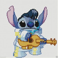 """Disney"" ""Lilo and Stitch"" Stitch as Elvis Cross Stitch Pattern #KeenahsCrossStitch"