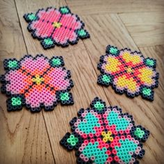 Flower coaster set perler beads by Thea IMYBY