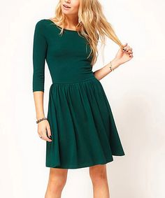 Another great find on #zulily! Green Fit & Flare Dress #zulilyfinds