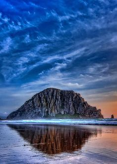~~Reflection of The Rock | beautiful sky and reflections from Morro Rock, Morro Bay, California | by Beth Sargent