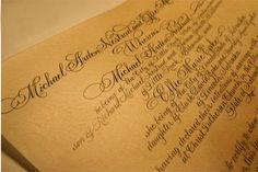 Calligraphy wedding certificate on goat skin