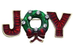 Christmas JOY Letters Wreath Bow Pin Pendant.