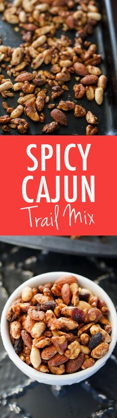 A crunchy snack mix featuring a blend of nuts and seeds coated with cajun-inspired seasonings. Add raisins for some sweetness or skip them for a low-carb snack! This Cajun Trail Mix is perfect for parties, game-day or mid-afternoon snacking. Trail Mix Recipes, Snack Mix Recipes, Nut Recipes, Cooking Recipes, Snack Mixes, Healthy Recipes, Cajun Recipes, Healthy Options, Finger Foods