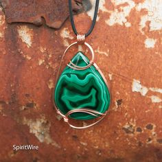 Mammoth Green Malachite Pendant Copper Wire Wrapped by SpiritWire Wire Pendant, Wire Wrapped Pendant, Wire Wrapped Jewelry, Metal Jewelry, Rock Jewelry, Wood Necklace, Wire Weaving, Jewelry Making Supplies, Stone Pendants