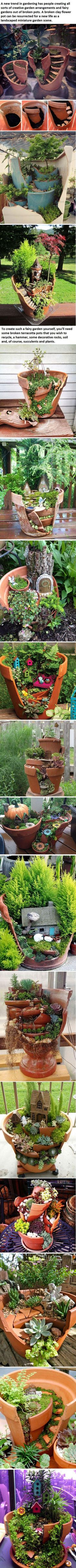 18 Broken Pots Turned Into Beautiful Fairy Gardens