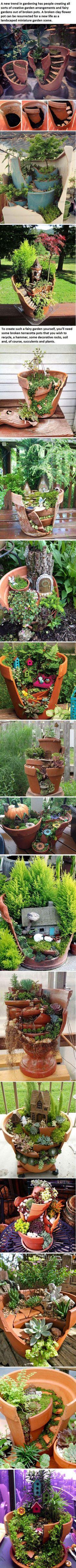 18 Broken Pots Turned Into Beautiful Fairy Gardens