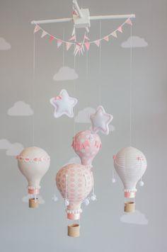 Blush Pink Hot Air Balloon Baby Mobile Nursery by sunshineandvodka
