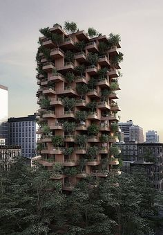 Toronto Tree Tower by Penda . The Toronto Tree Tower project is an residential block that would stand 62 metres tall with a modular structure made from cross-laminated timber Nature Architecture, Architecture Antique, Modern Architecture House, Sustainable Architecture, Modern House Design, Architecture Design, Kinetic Architecture, Timber Buildings, Unique Buildings
