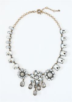 Asymmetrical Flower Necklace - clear stone & crystal statement necklace by Shamelessly Sparkly $25.90