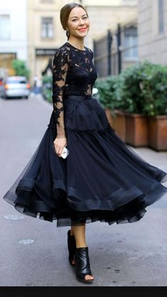 black, lace top with full skirt.  Beautiful, but would choose other shoes