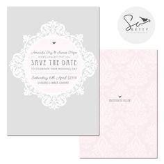 Pink and Grey Ornate Personalised Wedding Invitation 'So Amanda' by So Betty