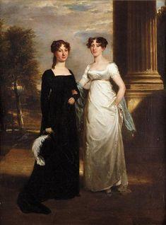 RAMSAY RICHARD REINAGLE R.A., BRITISH 1775-1862, Portrait of Charlotte and Elizabeth Sullivan, 1810