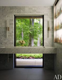 I'm really liking this large #window behind a simple #bathroom counter with built-in #sink. So simple + elegant!