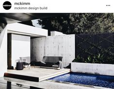 Mckimm is a contemporary award-winning architectural, design and construction practice based in Melbourne, Australia Alfresco Area, Outdoor Spaces, Outdoor Decor, Landscape Architecture, Decoration, Brighton, Sun Lounger, Swimming Pools, Minimalism