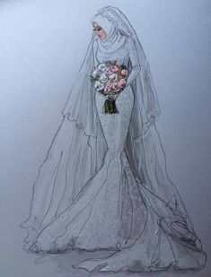 Wedding veils beautiful ideas for 2019 Fashion Design Drawings, Fashion Sketches, Wedding Dress Sketches, Wedding Dresses, Wedding Veils, Fashion Moda, Fashion Art, Dress Fashion, Hijab Fashion