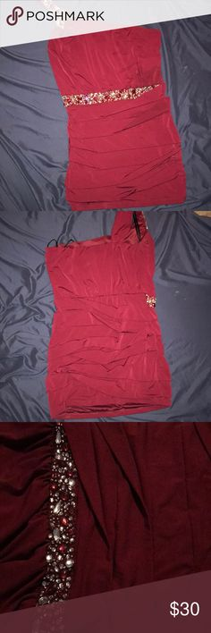 One shoulder dress—burgundy From Deb, cute one shoulder dress with embroidery! Deb Dresses One Shoulder