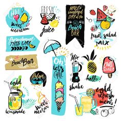 Set Of Hand Drawn Watercolor Ribbons And Stickers Of Summer Stock Vector - Illustration of label, beverage: 71767992 Art Doodle, Doodle Drawings, Vector Art, Vector Illustrations, Kids Prints, Stickers, Royalty Free Images, Decoration, Pop Art