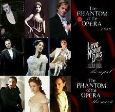The Phantom of the Opera 1989 Love Never Dies The Sequel 2010 The Phantom of the Opera 2003