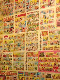 Vintage beano comics as wallpaper! I've wanted to do this since i was little! Small Bathroom Wallpaper, Stripped Wallpaper, Downstairs Loo, Restaurant Concept, Kids Bedroom, Bedroom Ideas, Childhood Days, Sweet Home, Toilets