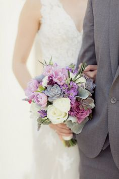 Romantic Purple, Ivory + Gray Wedding bouquet with succulents and tulips / Figlewickz Photography http://www.confettidaydreams.com/tree-chapel-forest-wedding/ @figlewiczphoto