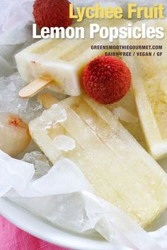 A sweet and flowery tiny melon fruit that works perfectly with fresh lemon juice to make a bright, healthy, easy tropical homemade popsicle. Makes 10 popsicles Home Made Popsicles Healthy, Healthy Popsicle Recipes, Vegan Dessert Recipes, Protein Recipes, Healthy Recipes, Lychee Juice, Lychee Fruit, Lemon Popsicles, Homemade Popsicles