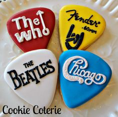 Guitar Pick Cookies Decorated Cookie Favors One Dozen by CookieCoterie, $28.00