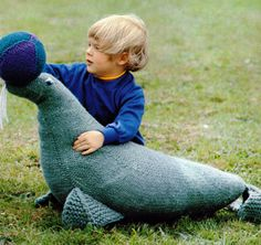 A great toy for any kid - and its a great heirloom. This is a pattern for a knitted toy seal from the 1970s. The pattern is written in American terms,