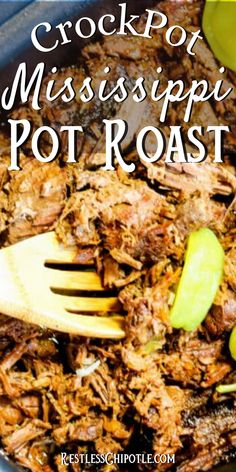 Mississippi pot roast is the most tender, melt-in-your-mouth-delicious, slow cooker meal you've ever eaten. With just a few ingredients and a little prep you'll be looking forward to a cozy, complaint-free family dinner! This freezes well, too. Instructions for instant pot, slow cooker, or oven included! #slowcooker #crockpot #potroast #easy #instapot #oven Crockpot Potroast, Slow Cooker Recipes, Beef Recipes, Easy Potluck Recipes, Mississippi Pot Roast, Roast Turkey Breast, Roasted Turkey, Southern Recipes, Chipotle