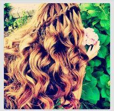 Waterfall braid with hair curled