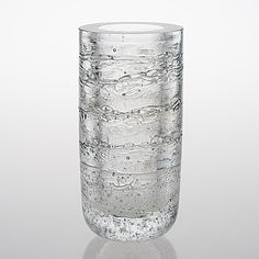 """TIMO SARPANEVA - Glass vase from the """"Arkipelago"""" series for Iittala, Finland. [h. 23 cm] Glass Design, Design Art, Clear Glass, Glass Vase, Cool Designs, Interiors, Texture, Heart, Water"""