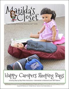 Happy Campers Sleeping Bags - Sewing pattern for 18-inch dolls such as American…