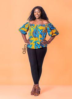 Off-shoulder Ankara off-shoulder African print Off-shoulder African Dress Patterns, African Print Dresses, Ankara Peplum Tops, Ankara Dress, African Tops, African Wear, Ankara Clothing, Short Gowns, Latest African Fashion Dresses