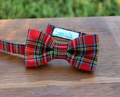 Boys Bow Tie  Handsome Red Plaid Bowtie for Infant by becauseimme