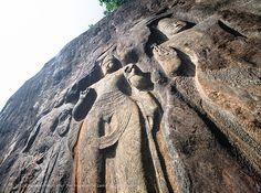 Buduruwagala Rock Carving, Sri Lanka (www.secretlanka.com) Maldives Destinations, Mahayana Buddhism, Flat Earth, Far Away, Travel Guides, Sri Lanka, Places Ive Been, Mount Rushmore, Asia