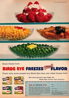 1958 ad for Birds Eye frozen foods