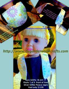 Flower power peace sign Vest for 18 inch doll Item S-2296-18-AV-11