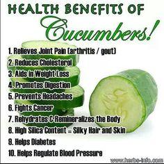 Benefits of Cucumbers Benefits of Food Health Benefits Health Nutrition Detox & Nutrition Natural Cures, Natural Health, Natural Foods, Cucumber Health Benefits, Avocado Benefits, Reduce Cholesterol, Health Remedies, Arthritis Remedies, Arthritis Hands