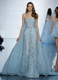 Sky blue strapless gown and Watteau train with embroidered silk tulle detailing
