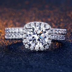 2Pcs engagement Blanc Topaze Couronne Gemstone Silver Couple Anneau Mariage Set SZ 6-9