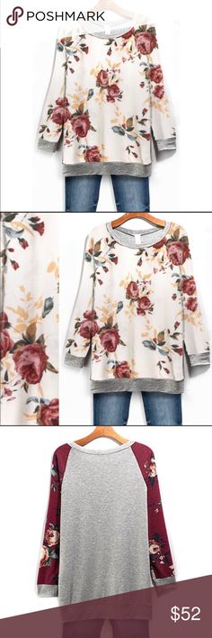 Floral Long Sleeve Knit Top Loose fitting. Super comfy. Light weight.                               Only available in light color. 3rd pic is to show the back is solid gray. Tops Sweatshirts & Hoodies