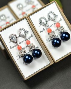 navy blue coral Wedding Jewelry Bridesmaid by thefabbridaljewelry, $35.99   best stuff  (I would prefer the navy pearls to be white!)