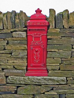 Victorian Red Post Box set in a Drystone Wall ~ Back Heights Road, Thornton, Bradford, England . You've Got Mail, Post Box, England And Scotland, English Countryside, Mail Art, British Isles, Great Britain, Retro, Lettering