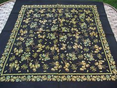 Vintage romanian wool shawl Russian scarf Soviet Floral old shawl Gift Wool LAINE Made in Japan HaND PRINTED romanian style women Gift by RussianshawlMayya on Etsy