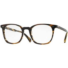 Oliver Peoples L.A. Coen 49 Square Fashion Glasses ($300) ❤ liked on Polyvore featuring accessories, eyewear, eyeglasses, glasses, light brown, lens glasses, acetate glasses, engraved wine glasses and oliver peoples glasses