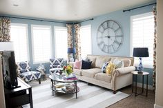 Love this look ... wall color, curtains and oversized clock.