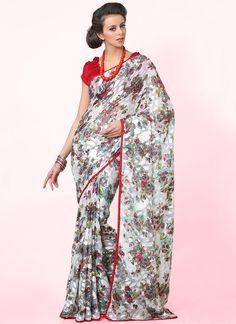 Increadible Look Floral Print #Casual #Saree