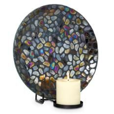 Wow! PartyLite's Aurora Mosaic Wall Sconce is SO versatile! The pebble glass seems to change color with its surroundings! Hang it on your wall, stand it up on your mantle, or set it down flat and put a pillar garden on it!