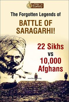 #TodayInHistory The Forgotten Legends of Battle Of Saragarhi! Today is Saragarhi battle day. September 12th 1897. The day when 21 Sikhs from 36th Sikh Regiment banged up huge Afghan tribals and left more than 600 dead. #RIP. Read More http://barusahib.org/…/100th-anniversary-of-the-battle-of-…/ Share& Spread to pay a salute to all these brave hearts!