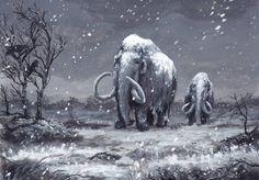 Mammoths and First Snow by Jarkko Naas DeviantArt Prehistoric World, Prehistoric Creatures, Jurassic World Dinosaurs, Extinct Animals, Dinosaur Art, Historical Artifacts, Dark Fantasy Art, Wildlife Art, Animal Drawings