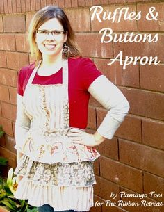 How to make an apron with ruffles. Cute!@Barbara Strouse I know you hate ruffles but...@Connie Greene this is definitely all about YOU!!